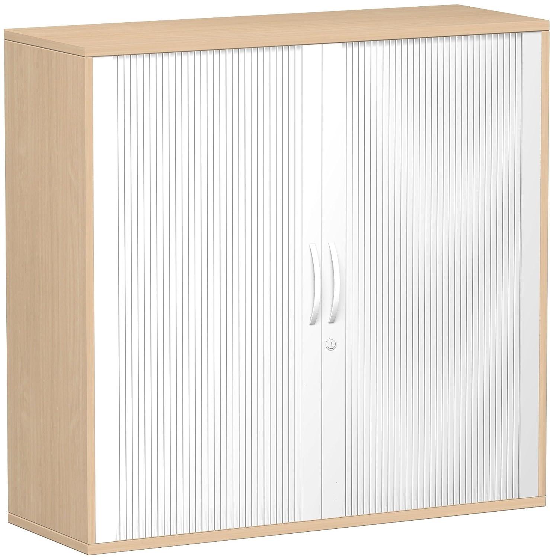 Geramöbel Querrollladenschrank Oberboden 25 mm, mit Standfüßen, abschließbar, 1200x425x1182, Silber/Buche