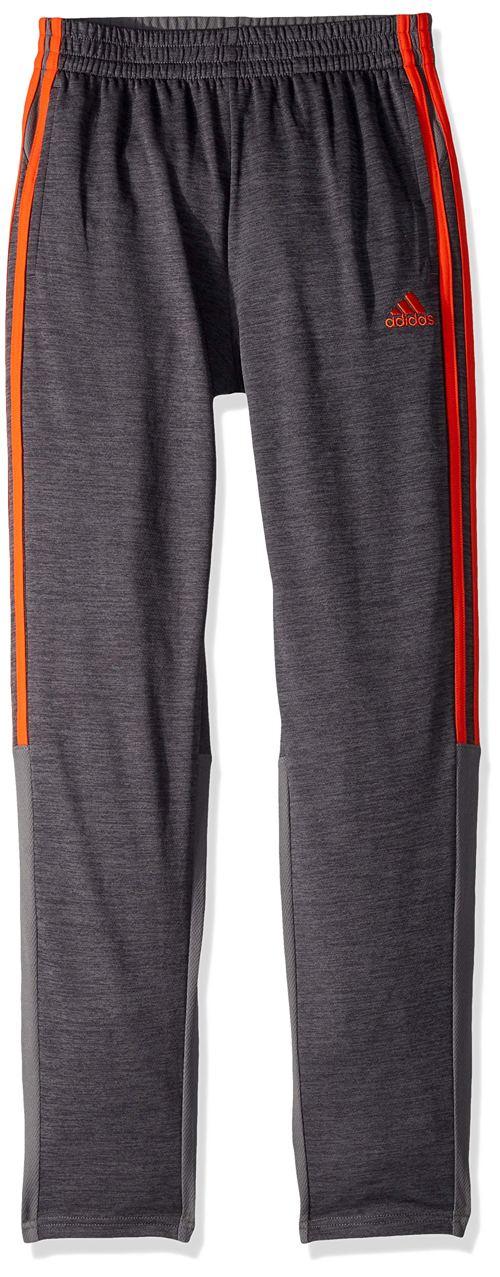 adidas Boys' Big Stay Cool Climalite Athletic Sport Pant, Grey Five Heather/Active Orange, XL (18/20) by adidas