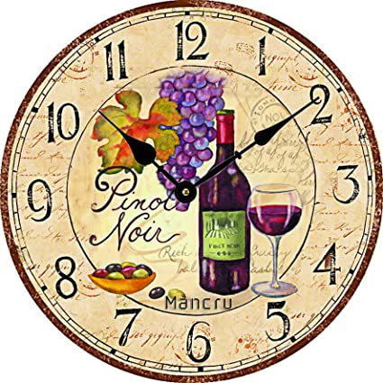 Mancru 0.4 Inch Thickness Vintage Not Cover Silence Wall Clock Shabby Wooden Large Round Non-