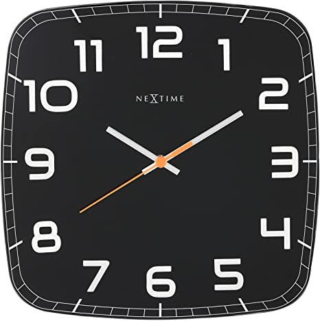 Nextime Wall Clock Classy Square Very Silent Square Made Of Glass Black 30 X 30 Cm Amazon Co Uk Kitchen Home