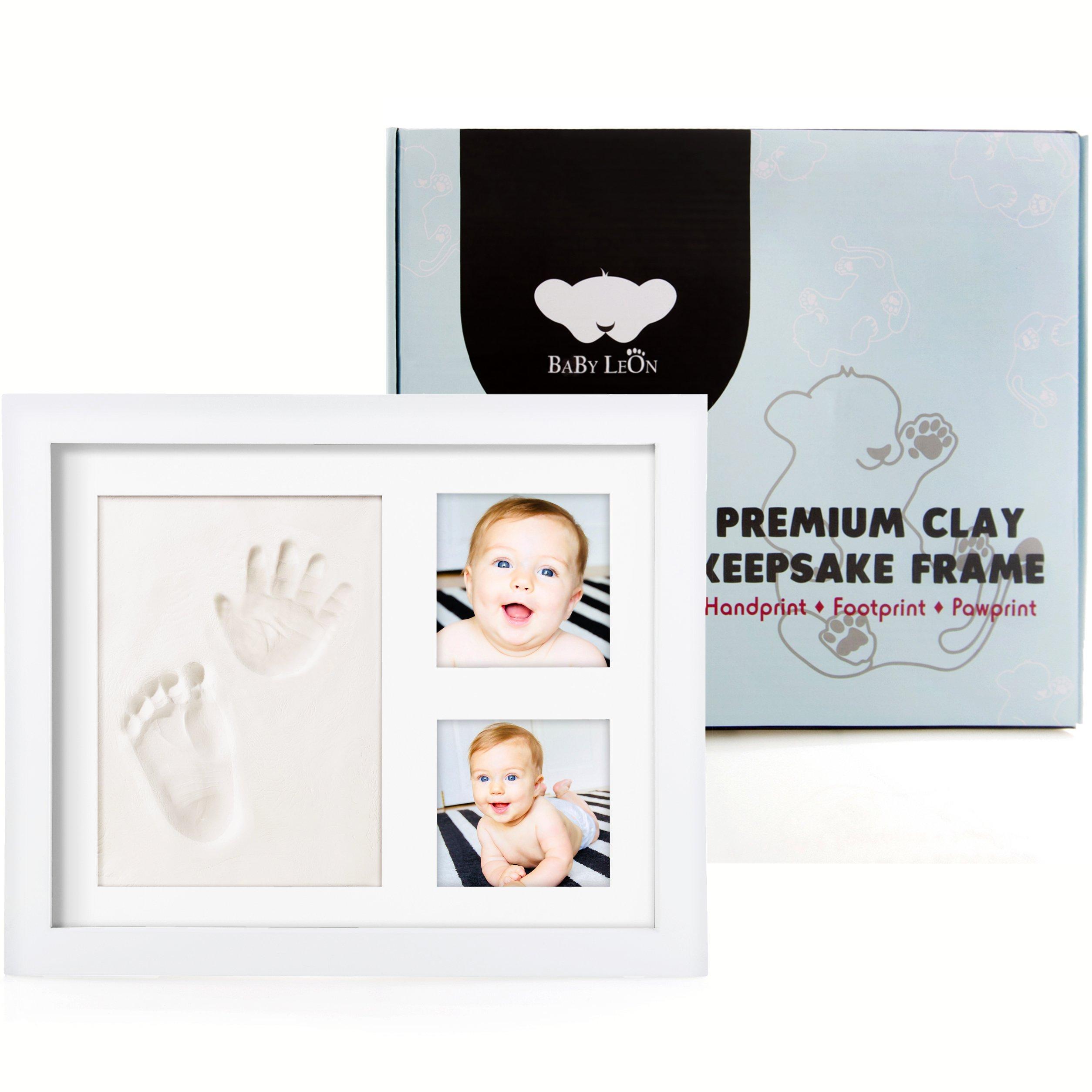 Baby Leon Premium Footprint Kit | Best Baby Shower Gift for Newborn Girls & Boys | New Mom Gift Registry | Baby Room Picture Frame Decor | Handprint & Pet Paw Print Keepsake | Safe Air Dry Clay