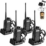 Walkie Talkie Rechargeable 4 Pack Portable Handheld 2 Way Radio Set Long Range for Adults with Earpiece