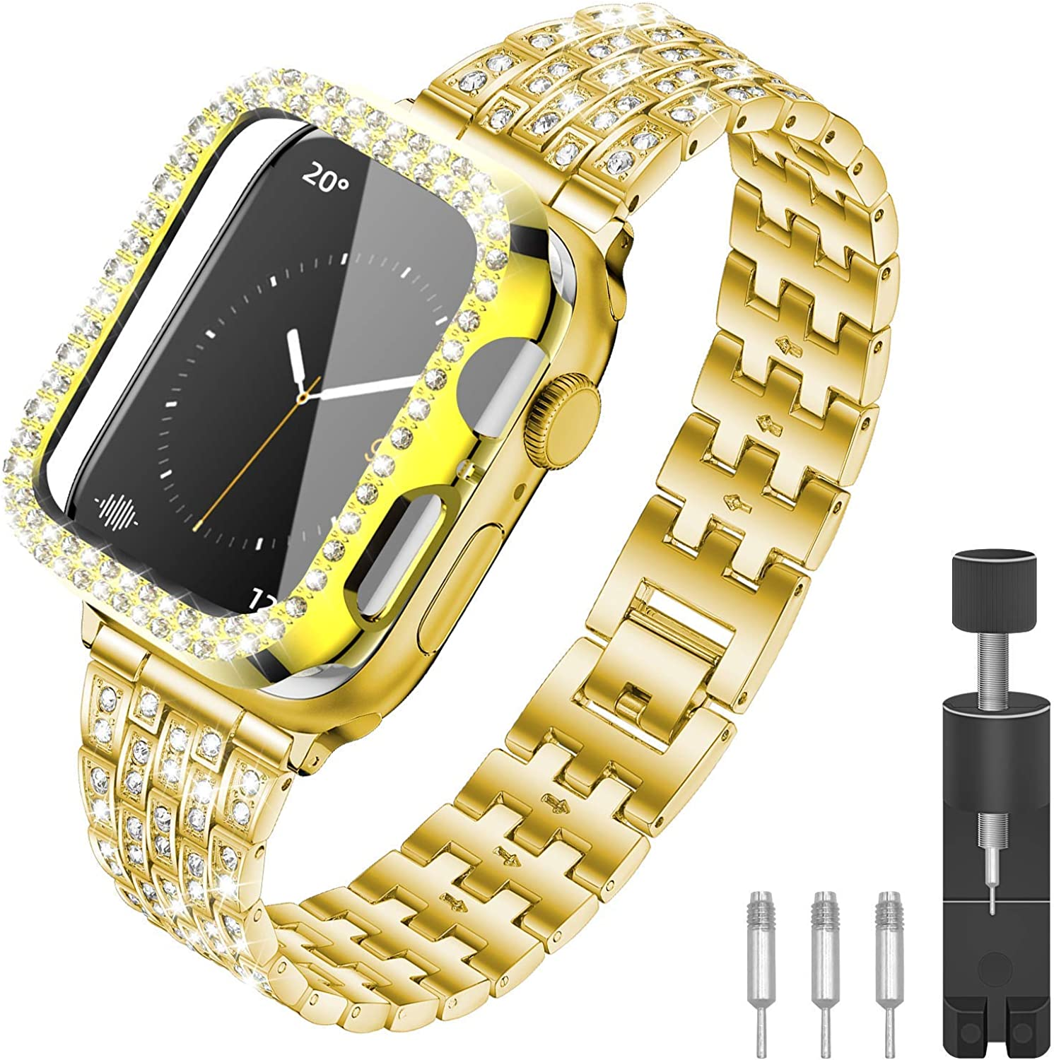SEILETOO Bling Band Compatible with Apple Watch Band with Rhinestone Diamond Case 38mm/40mm/42mm/44mm for iWatch Series 6/5/4/3/2/1/SE band