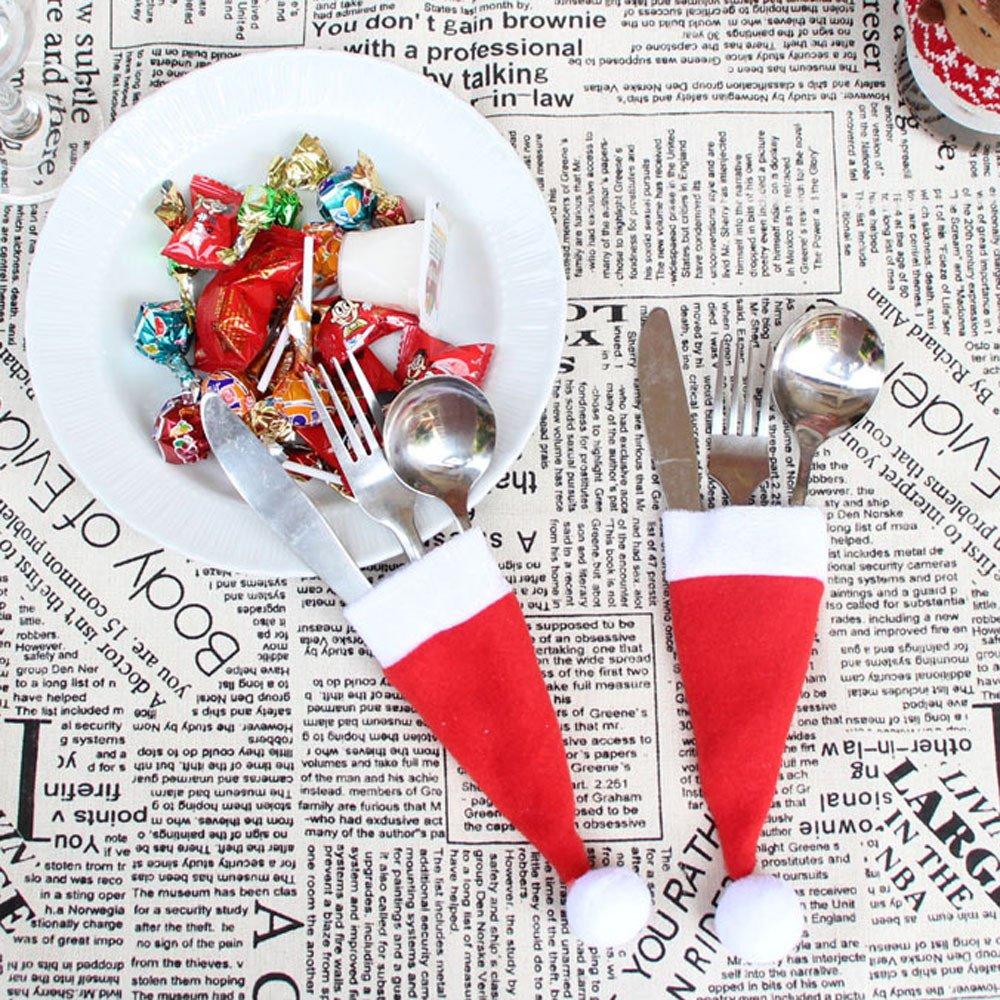 Botrong 10PC Christmas Decorative Tableware Fork Set Christmas Hat Storage Tool