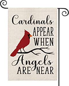 AVOIN Christmas Cardinals Appear When Angels are Near Garden Flag Vertical Double Sized, Winter Holiday Party Yard Outdoor Decoration 12.5 x 18 Inch