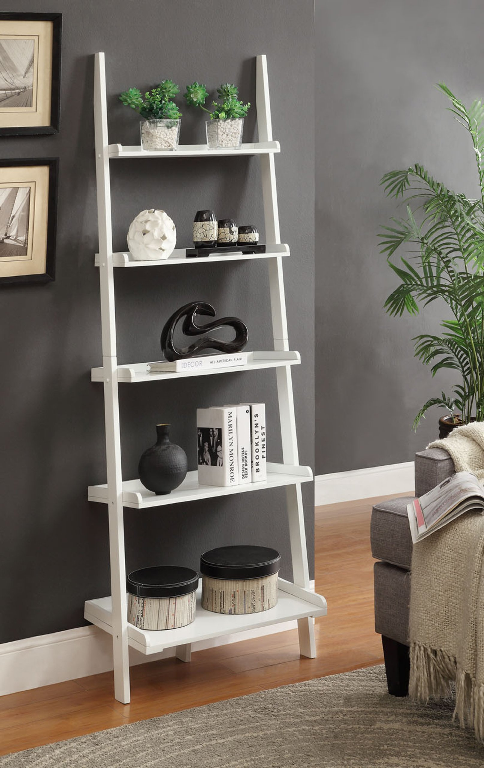 Convenience Concepts French Country Bookshelf Ladder, White by Convenience Concepts (Image #3)