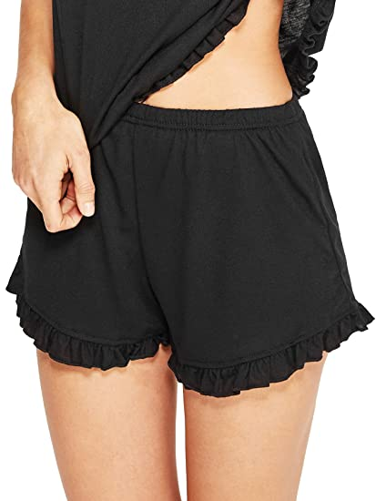 2243f7c52cd3 WDIRARA Women s Ruffle Hem Plain Black Pajama Shorts Bottoms Sleepwear at  Amazon Women s Clothing store