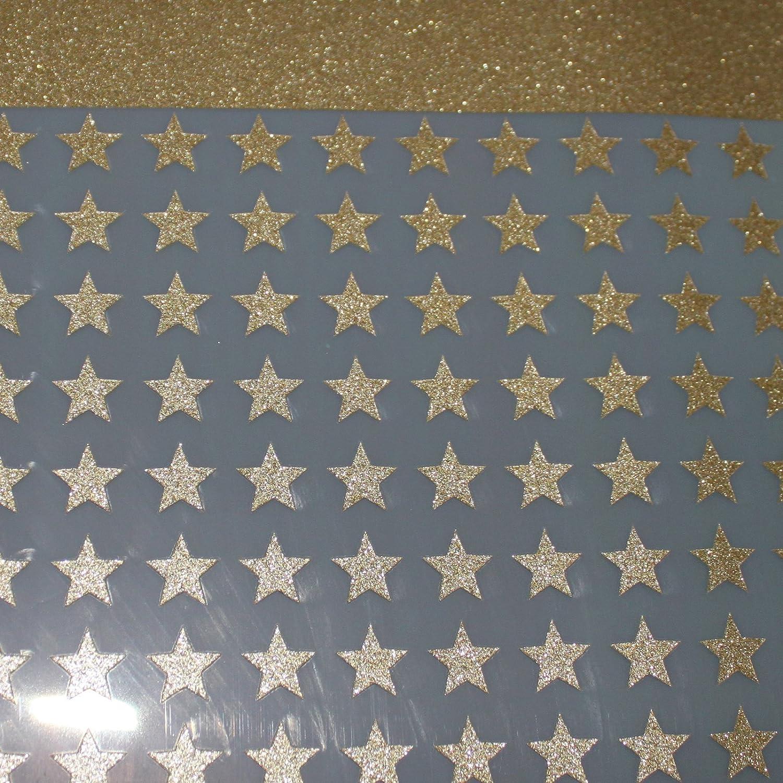 Applicazioni, stelle, 30 GLITTER, termoadesive, 1 cm, colore: oro SAFIRMES
