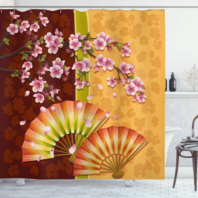 Ambesonne Floral Shower Curtain, Composition of Burgeoning Sakura Blooms Japanese Garden Art, Cloth Fabric Bathroom Decor Set with Hooks, 75
