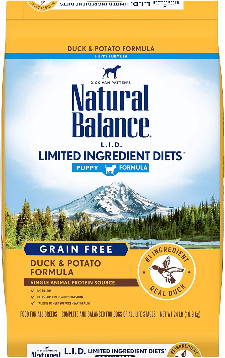 Natural Balance L.I.D. Limited Ingredient Diets Dry Puppy Food, Duck & Potato Formula, Grain Free