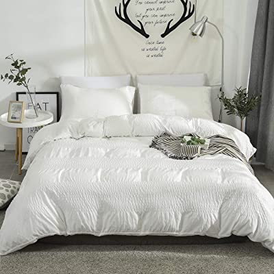 """DuShow Queen White Duvet Cover Set Solid Washed Cotton Seersucker Duvet Cover(90"""" 90"""") Textured Soft 3 Pieces Comforter Cover Set with Zipper Closure: Home & Kitchen"""