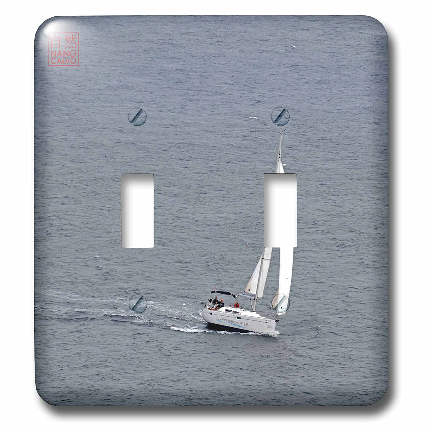 3dRose lsp_107498_2 Sailing boat makes a turn in Mediterranean Sea, Formentera, Spain Double Toggle Switch Multicolor