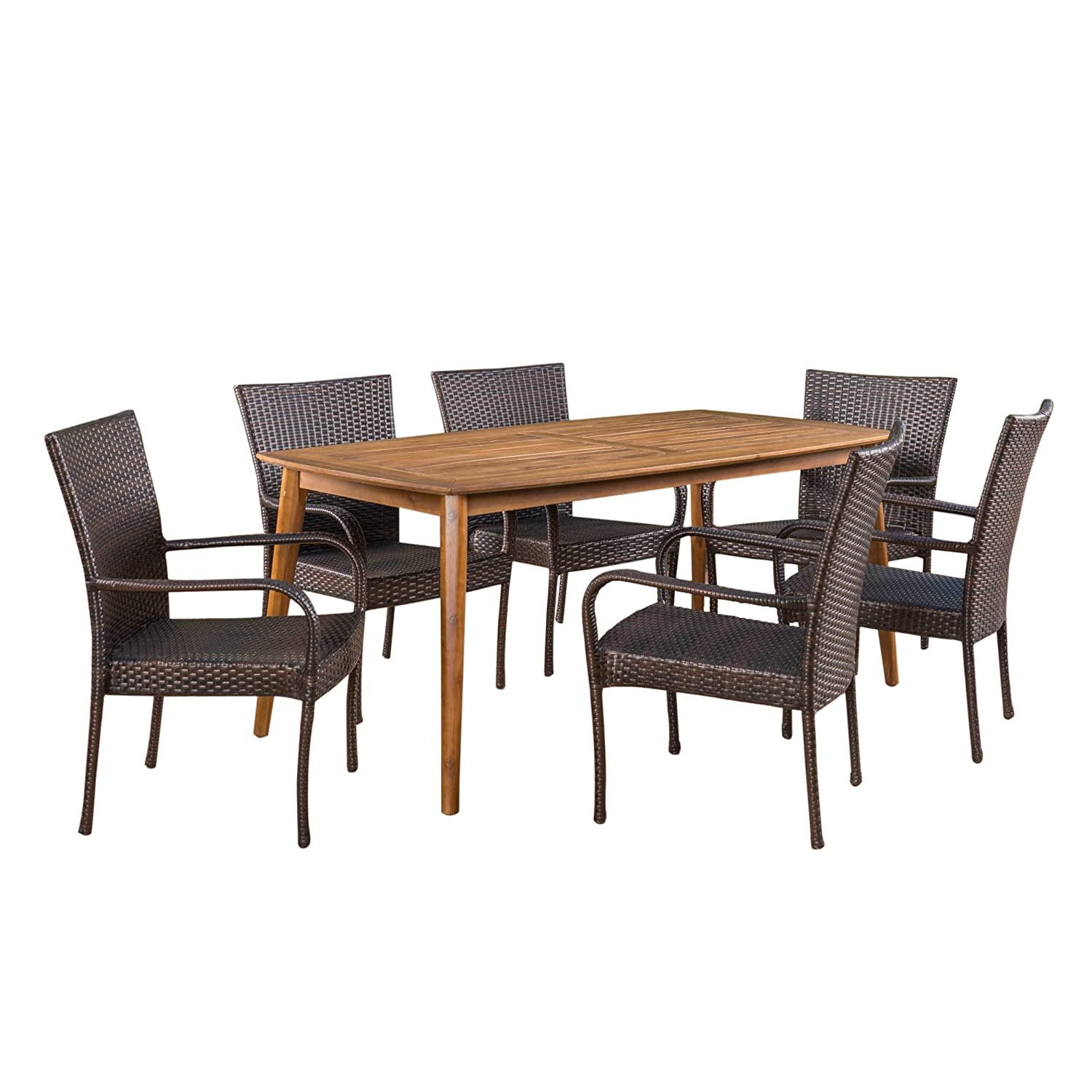 Christopher Knight Home Arthur Outdoor 7 Piece Multibrown Wicker Set with Teak Finish Rectangular Acacia Wood Dining Table