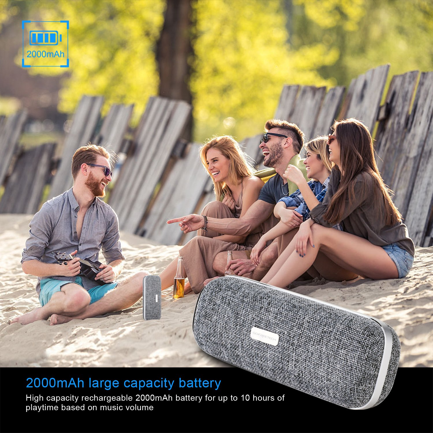 Wireless Bluetooth Speaker, Portable Classic Elegant Stereo Speakers with HD Sound Audio and Enhanced Bass, Bluetooth 4.2/AUX line/Dual Driver Speakers for Home, Beach, Travel, Party - Gofreetech by GOFREETECH (Image #5)
