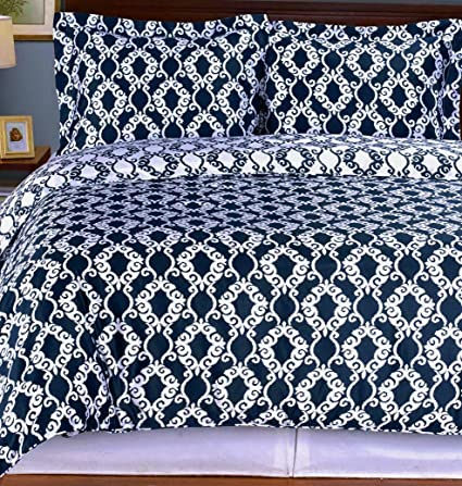 Amazon Com 3pc Moroccan Medallion Navy Blue White Cotton Bedding