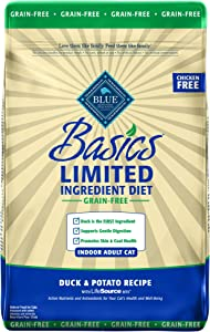 Blue Buffalo Basics Limited Ingredient Diet Grain Free, Natural Indoor Adult Dry Cat Food, Duck & Potato 11-lb