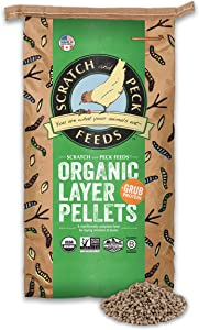 Scratch and Peck Feeds Naturally Free Organic Layer Pellets Chicken Feed with Grub Protein - 25-lbs. - Non-GMO Project Verified, USDA Organic - 2024-25