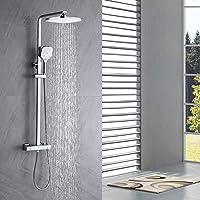 Auralum Columna ducha Termostatico, grifo ducha para baños, Set de ducha con 10'' ducha de lluvia y 3 Funciones Ducha de…