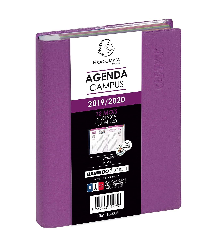 12x17 cm Un jour par page 2019//2020 Violet Agenda scolaireCampus