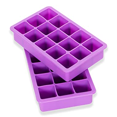 Elbee Home 613 Set Of 2 Silicone Ice Cube Trays Easy Release Pop Out Makes 30 Cubes
