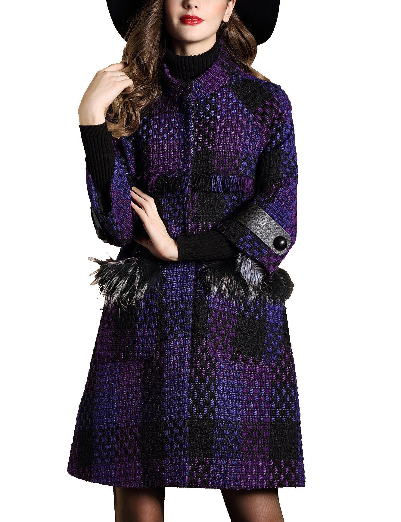 DanMunier Women's Winter Classic Double-Breasted Coat #4358 (M, Purple) by DanMunier