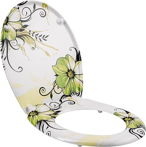tectake 402259 Abattant WC Frein de Chute Soft Close Si/ège de Toilette Cuvette Si/ège Lunette Fleurs