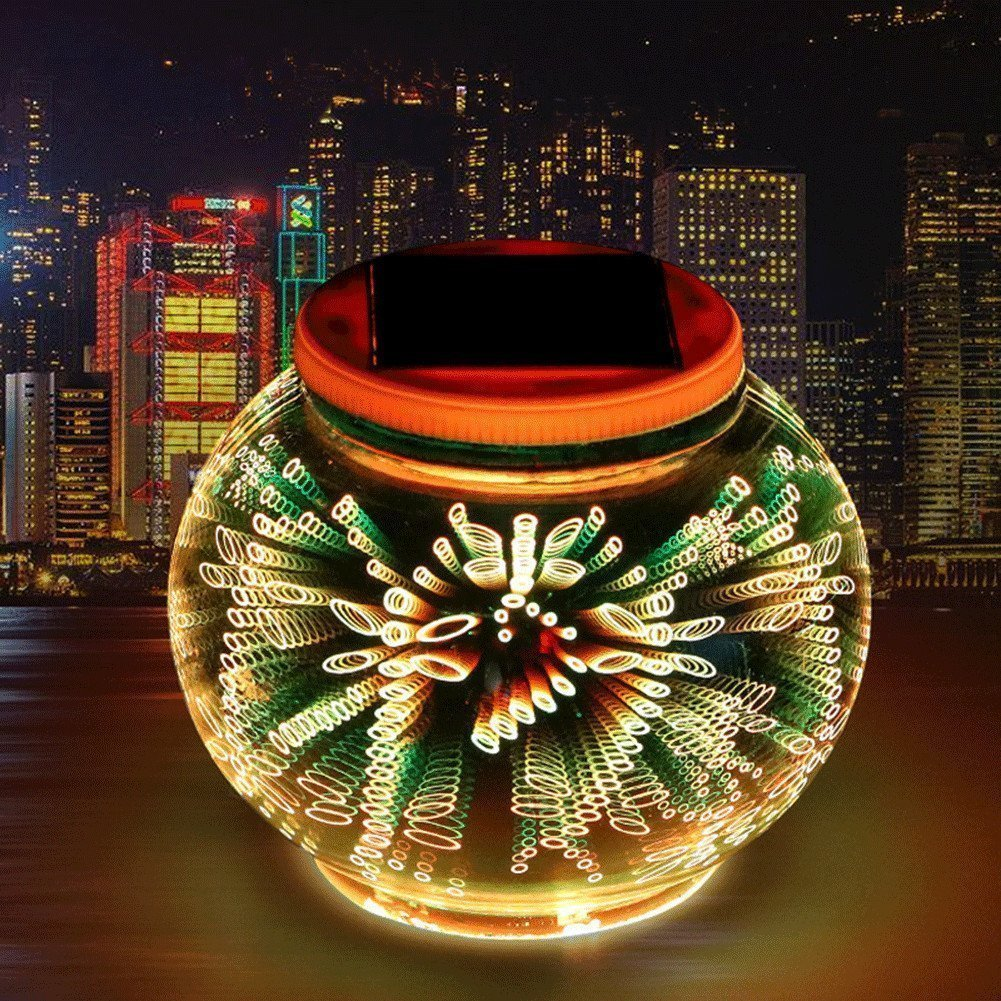 Solar Table Lights,3D LED Color Changing Mosaic Rechargeable Solar Powered Glass Globe Ball Gift Lamp,Decorative Night Light for Garden, Patio, Party, Yard, Lawn,Pool,Outdoor and Indoor (Dragonfly)