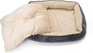 long rich Textiles 2-in-1 Rectangle Ultra-Soft Dog & Pet Bed, Large, Burn Out Gray, by Happycare Textiles