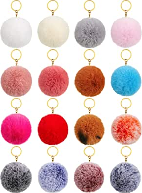 16 Pieces Pom Poms Keychains Fluffy Ball Pompoms Key Chain Faux Fur Colorful Pompoms Keyrings for Girls Women Hats Shoes Bags Accessories