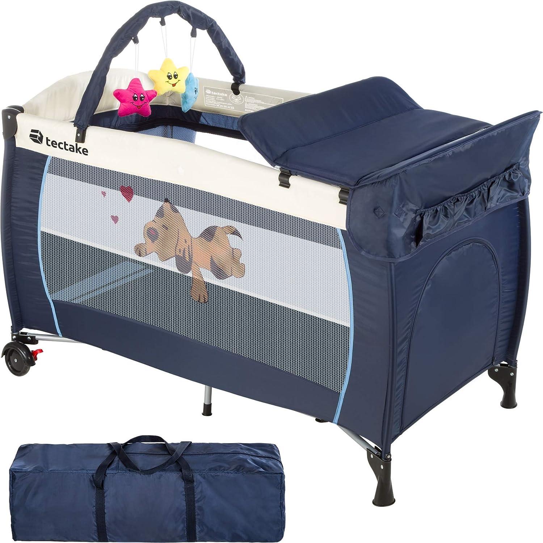 TecTake Cuna infantil de viaje de altura ajustable con acolchado para bebé - disponible en diferentes colores - (Azul | 400534)