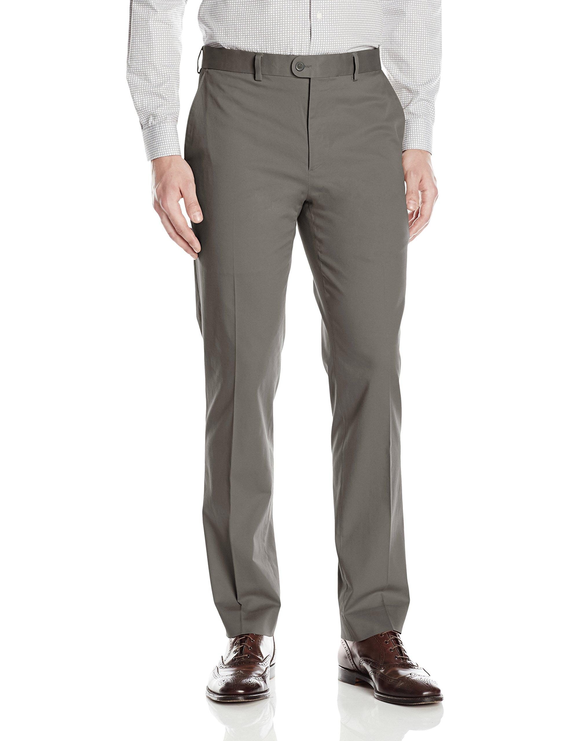 Bensol Men's Flat Front Stretch Cotton Khaki Pant, Charcoal, 36W X 32L by Bensol