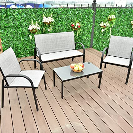 Amazon.com: 4 PCS Patio Furniture Set Sofa Coffee Table ...