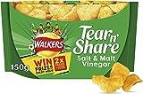 Walkers Tear & Share Salt and Vinegar Thicker Cut Crisps, 150 g, Pack of 6
