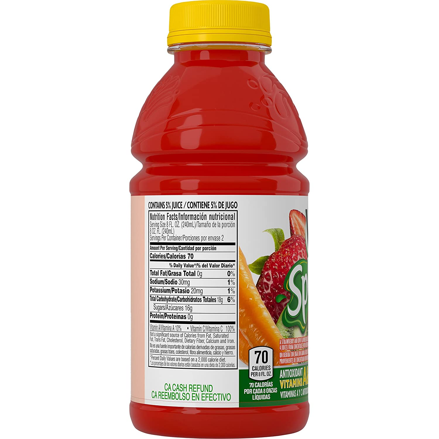 Amazon.com : V8 Splash, Strawberry Kiwi, 16 Ounce (Pack of 24) : Juice : Grocery & Gourmet Food