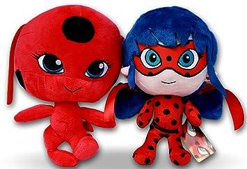 Prodigiosa 2x Peluches Ladybug y Tikki 25cm Las aventuras de Ladybug Muñecos Marinette con su Kwami