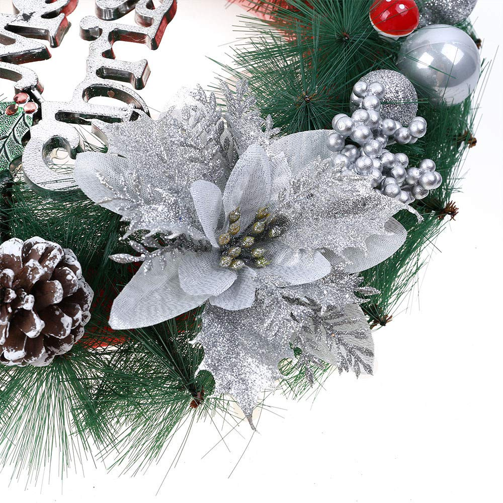 Promisen Christmas Wreath,30CM Merry Christmas Decorated Pine Wreath with Color Balls,Pine Cones, Artificial Garland Holiday Wreath for Christmas Party Decor, Front Door Wreath (Silver) by Promisen (Image #3)