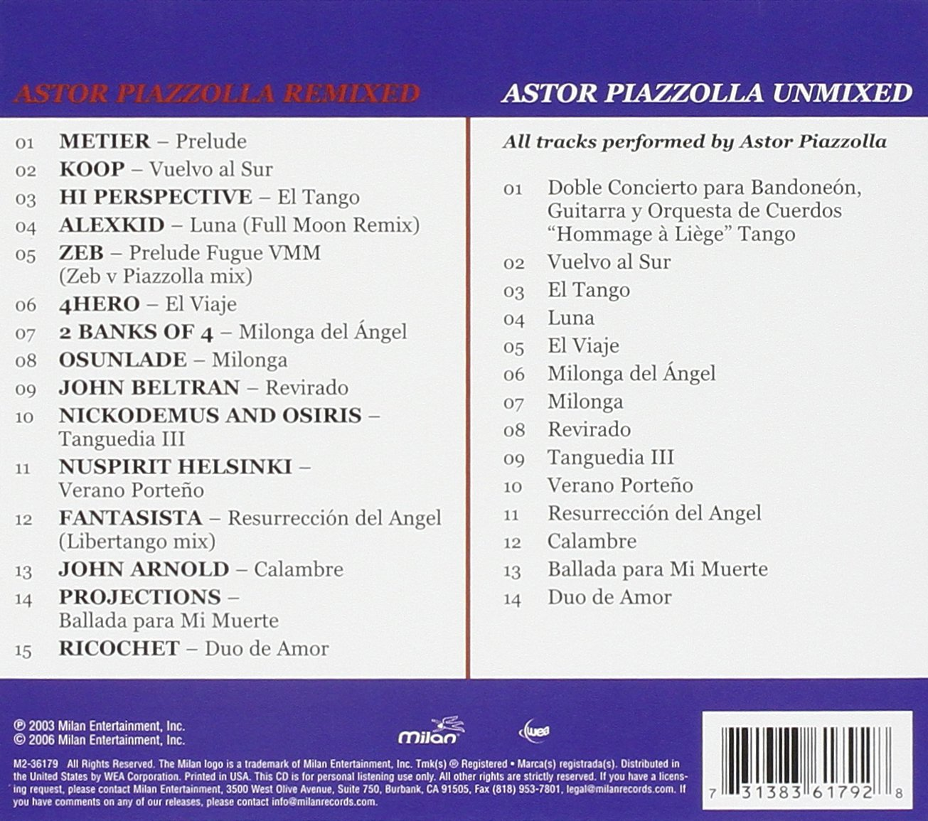 Remixed/Unmixed: Astor Piazzolla: Amazon.es: Música