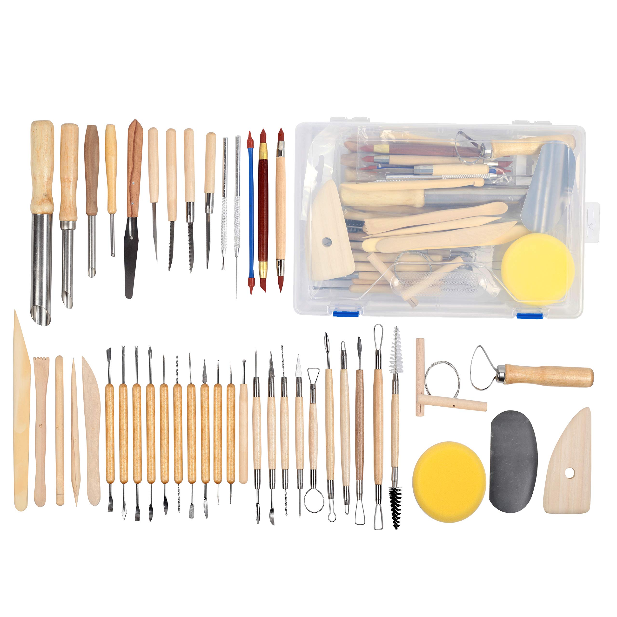 Falling in Art 45pcs Clay Sculpting Tool Kit, Pottery Ceramic Tool Set with Plastic Box by Falling in Art (Image #1)