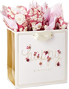 "Hallmark Signature 7"" Medium Birthday Gift Bag with Tissue Paper (Pink Flowers)"