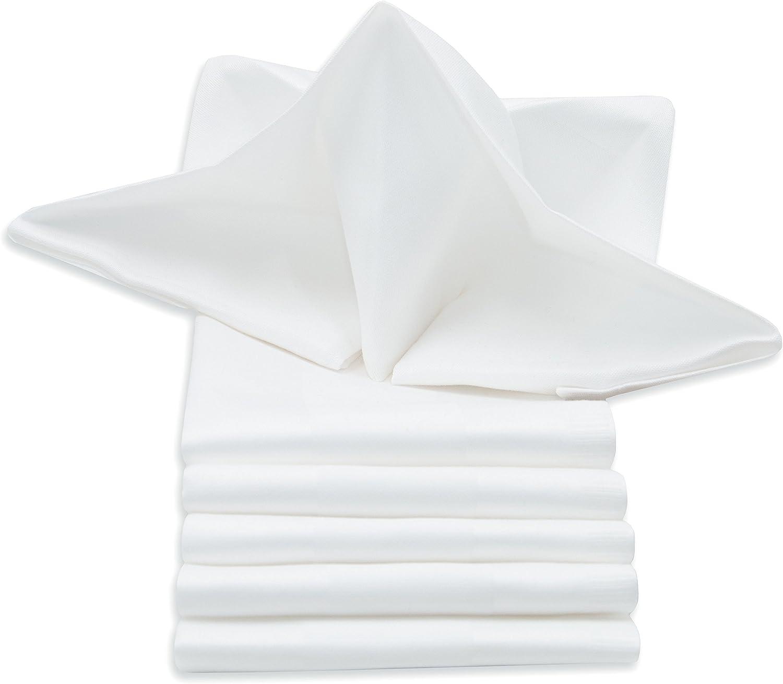ZOLLNER 6 servilletas de Tela Blancas, 100% algodón adamascado ...