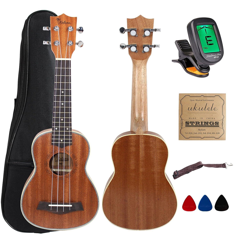 Kulana Deluxe Soprano Ukulele, Mahogany Wood with Binding and Aquila Strings + Gig Bag YMC GUKS