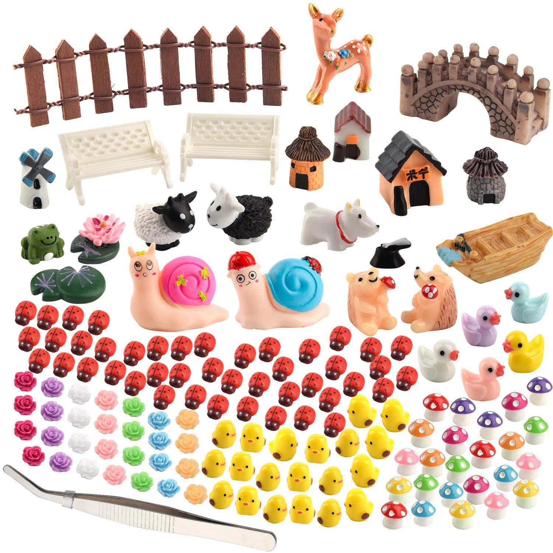 Zealor 150 Pieces Miniature Ornaments Kit for Fairy Garden Dollhouse Decoration