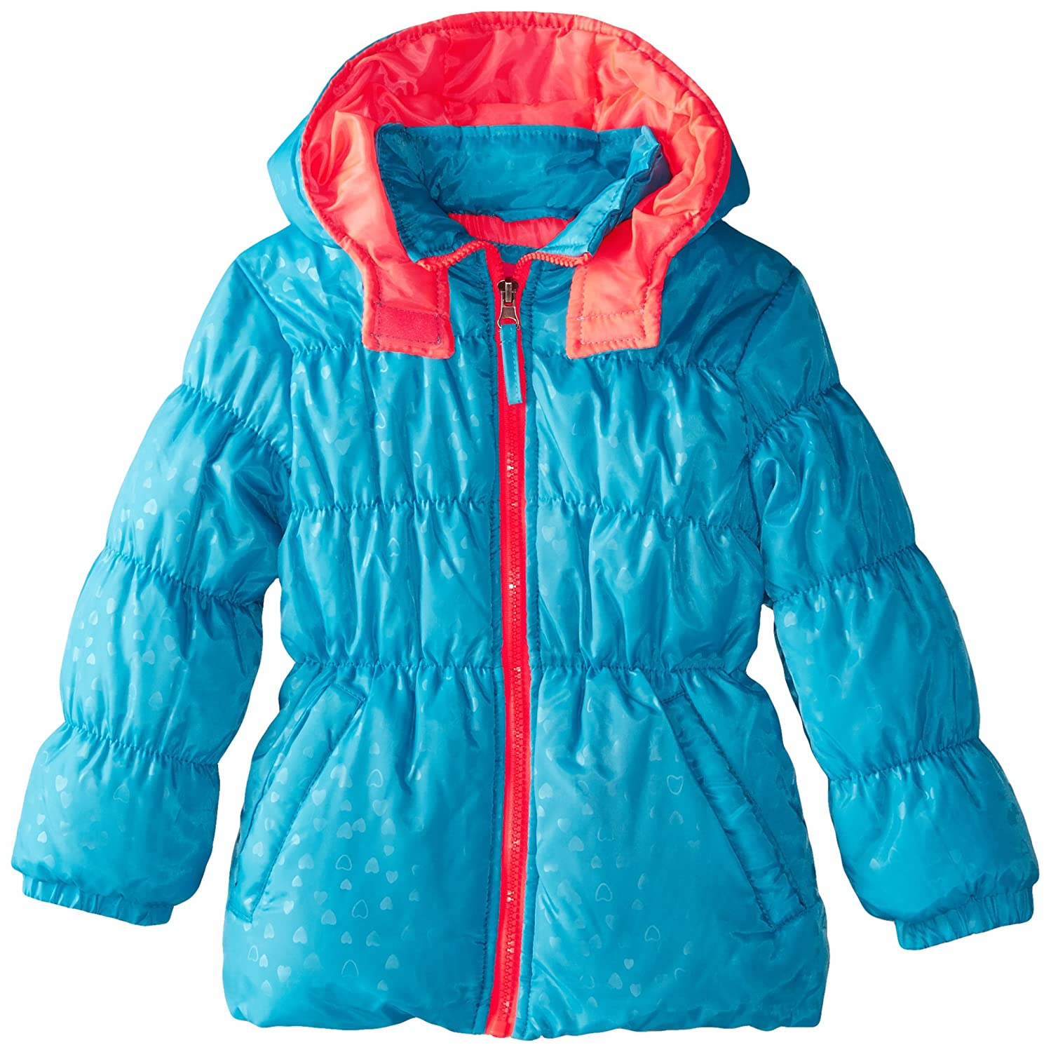 Pink Platinum Girls' Heart Stamp Puffer Jacket Pink Platinum Girls 2-6x PP74156-NVY