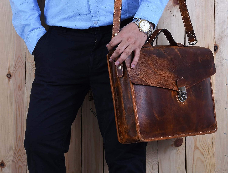 16 Leather Messenger Satchel Bag for Men Briefcase Portfolio Office Bag Brown