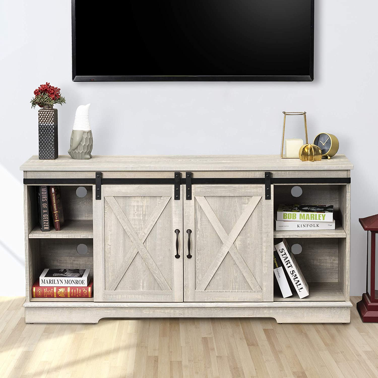 Farmhouse TV Stand with Sliding Barn Doors