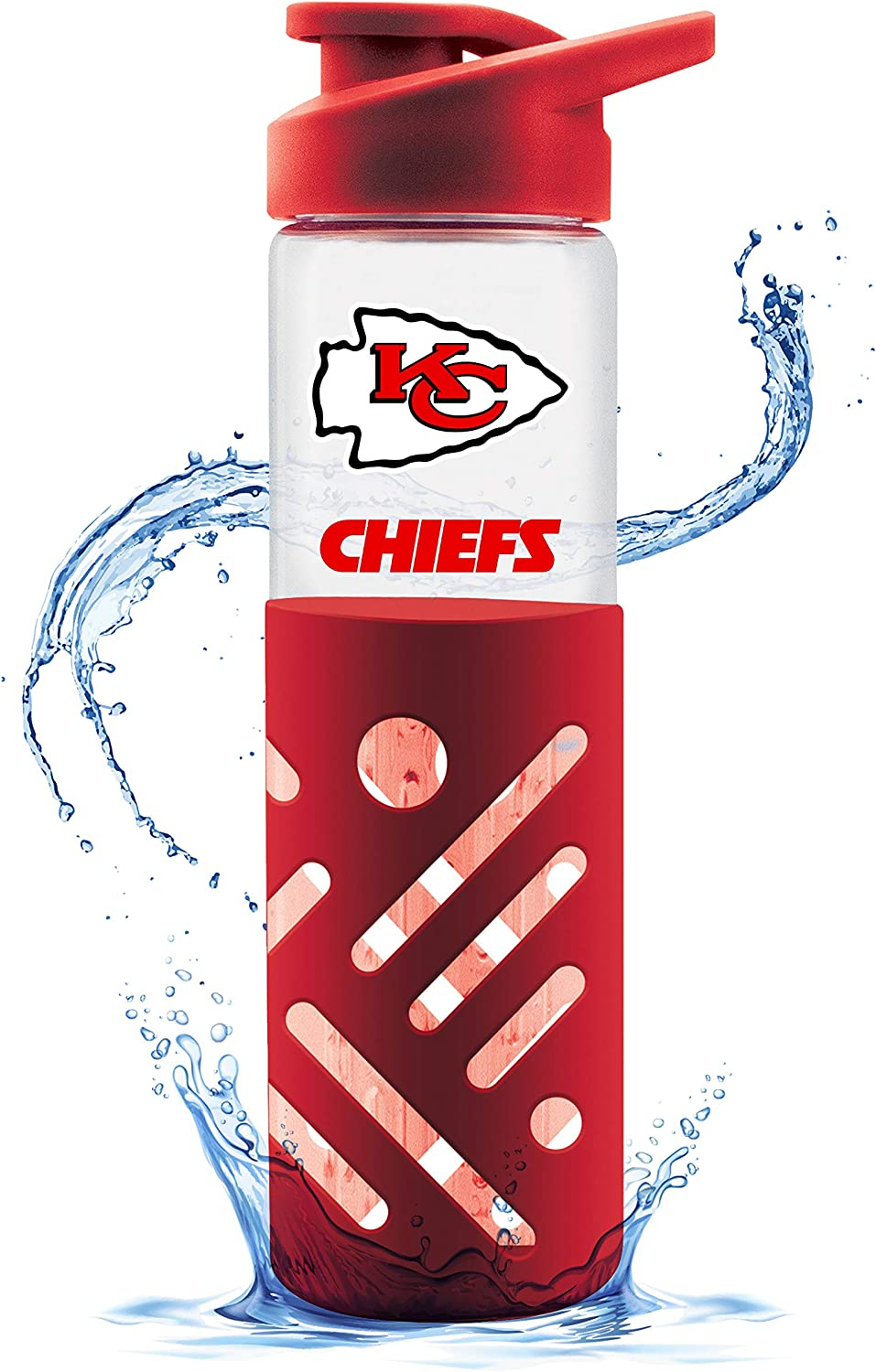 Duck House NFL Fan Shop NFL Glass Water Bottle with Carrying Handle | Premium Glassware | Silicon Protector Sleeve | Flip Top Lid | BPA-Free | 23oz