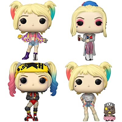 Funko Heroes: POP! Birds of Prey Collectors Set - Harley Quinn with Caution Tape Jacket, Club Look, Roller Derby, Harley Quinn with Bernie: Toys & Games