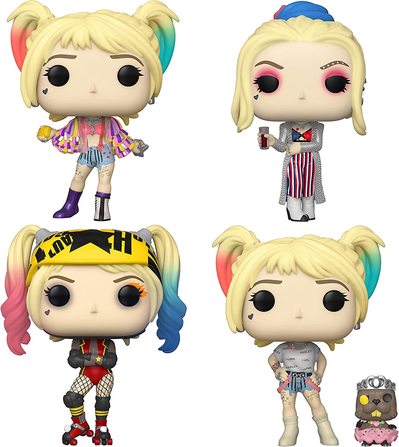 Amazon Com Funko Heroes Pop Birds Of Prey Collectors Set Harley Quinn With Caution Tape Jacket Club Look Roller Derby Harley Quinn With Bernie Toys Games