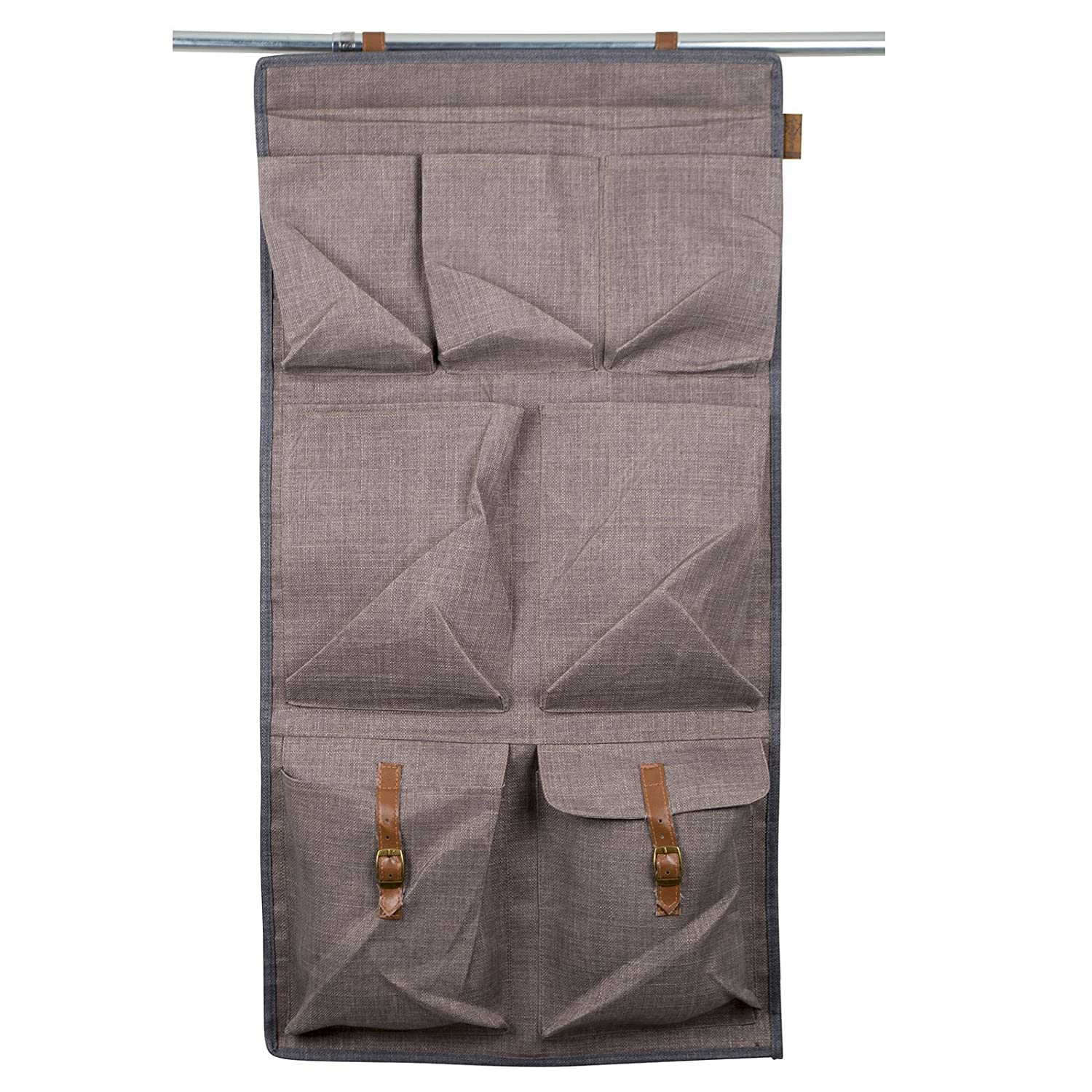 Bo-Camp Urban Outdoor Hä ngeregal 7 Fach Organizer in Leinen Stoff Optik 45 x 90 cm