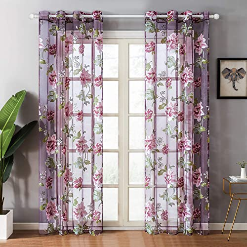 Top Finel Floral Sheer Curtains 96 Inches Long for Living Room Bedroom Grommet Voile Window Curtains, 2 Panels, Purple Flower